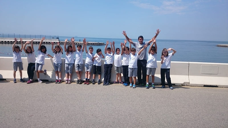 Primary School Students in Caddebostan Beach Road for their P.E. lessons